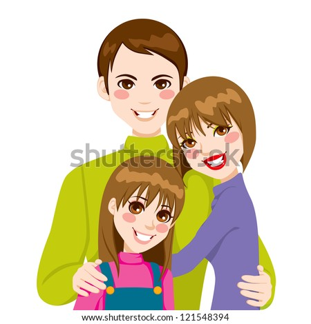 Happy family of father and mother with daughter posing together smiling