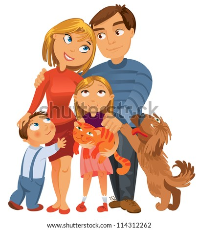 Happy family of four and two pets, posing together, vector illustration - stock vector