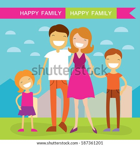 Happy family of four members parents their son and daughter Lovely cartoon characters on nature sunny summer day background.Vector illustration