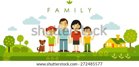 stock-vector-happy-family-of-four-people-and-pet-posing-together-on-nature-background-in-flat-style