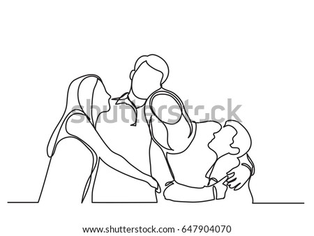 happy family of four - single line drawing