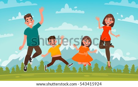 Happy family on a background of mountain scenery. Dad, Mom son and daughter are jumping on the lawn. Vector illustration in cartoon style