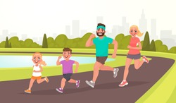 Happy family on a jogging. Father, mother, daughter and son are running around in the park. Healthy lifestyle. Vector illustration in cartoon style