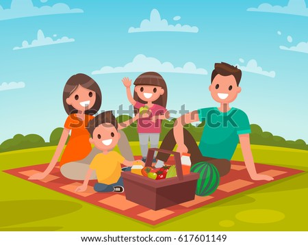 Happy family on a picnic. Dad, mom, son and daughter are resting in nature. Vector illustration in a flat style