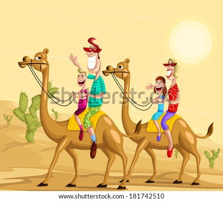 happy family on camel ride in