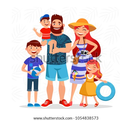 Happy family on summer vacation going to the beach and having rest close to the sea. Parents and children cartoon characters vector flat illustration isolated on summer background.
