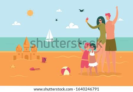 happy family on summertime