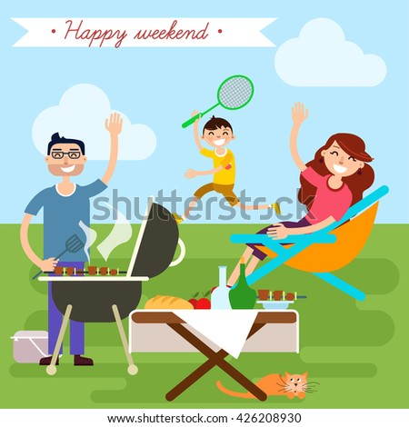Happy Family on Weekend Barbecue Party Picnic. Vector illustration