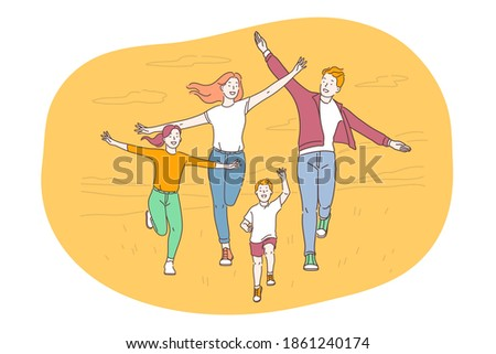 Happy family, parenthood, children concept. Young smiling parents and children family walking outdoors feeling cheerful and having fun together in summer. Togetherness happiness childhood illustration