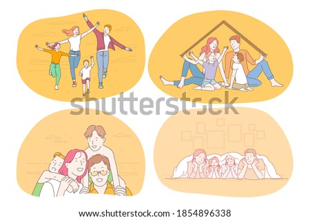 Happy family, parenthood, children concept. Young smiling parents and children walking, playing, enjoying time together, having fun and feeling cheerful and happy. Togetherness, happiness, couple