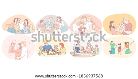 Happy family, parenthood, enjoying time with children concept. Young happy families with kids playing, walking, eating, cooking, watching movies and having fun together at home and outdoors