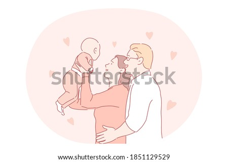 Happy family, parenthood, having children concept. Young happy parents father and mother cartoon characters standing and holding small baby in raised hands. Togetherness, happiness, couple