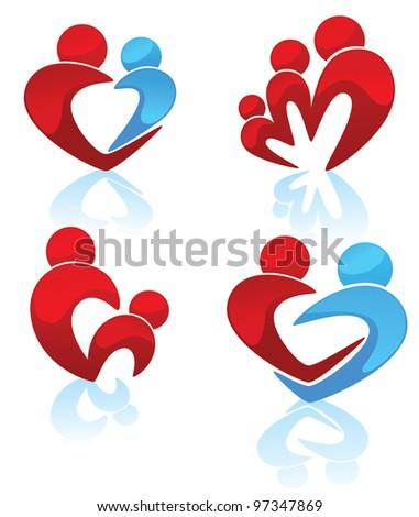 happy family, parents, child, man and woman symbols