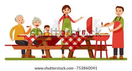 Happy family picnic barbecue grill in outdoor modern flat style vector illustration