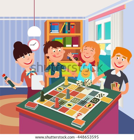 Happy Family Playing Board Game at Home. Vector illustration