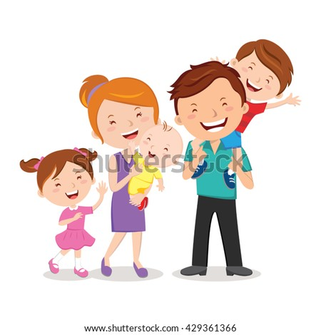 Happy family portrait. Happy family gesturing with cheerful smile. - Shutterstock ID 429361366