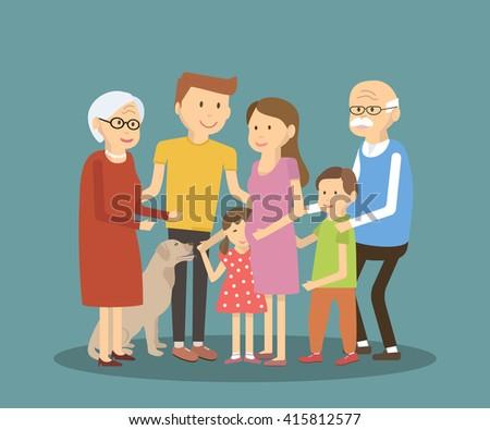 happy family portrait vector