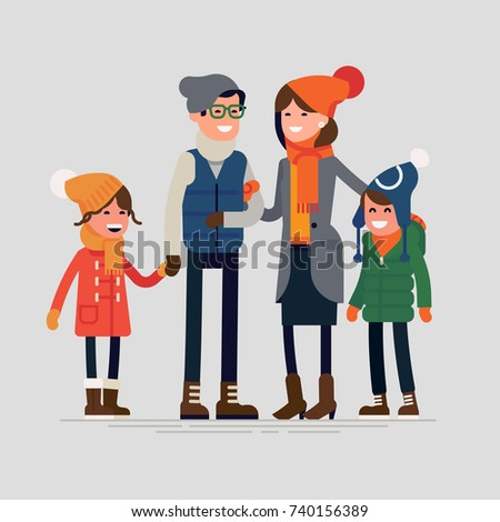 Happy family ready for winter season outdoors activity vector flat design illustration. Parents with children standing together holding each other wearing winter clothes