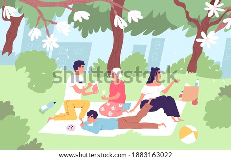Happy family relaxing on picnic blanket in city park in summer. Old granny, mom, dad and son spending leisure time together outdoors. People enjoying summertime in nature. Flat vector illustration