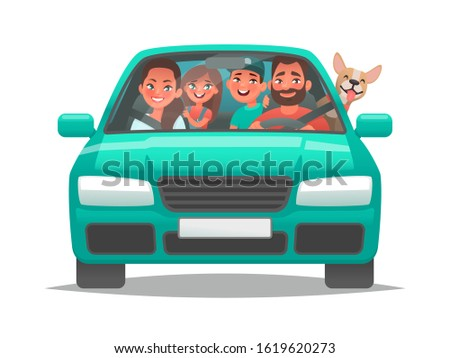 happy family rides in a car