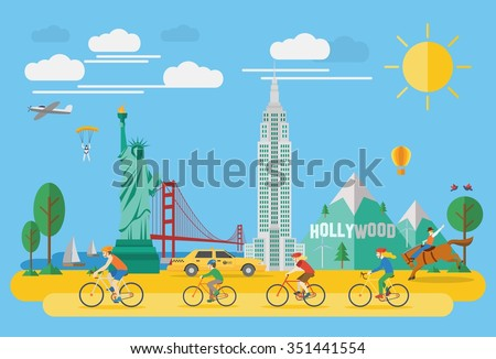 Happy family riding bicycle in America. Flat design style.