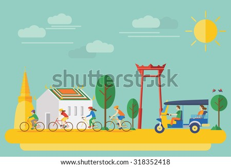 happy family riding bicycles in
