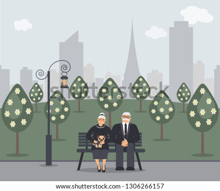 Happy family seniors: cute smiling elderly man and woman with pug are sitting on bench in park. Retired elderly couple in love.Trees, cityscape and ancient lantern.Vector flat illustration