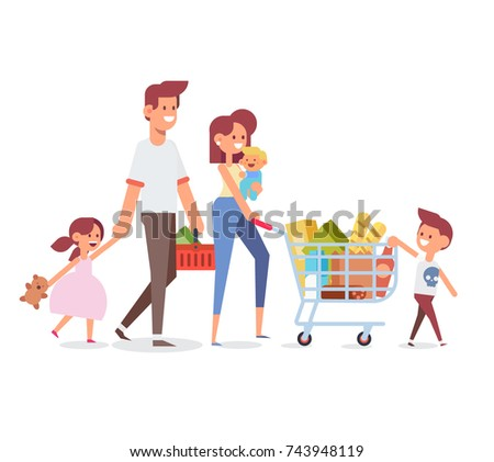 Happy family shopping - parents with happy kids. Big sale. Purchasing of goods and gifts. Flat Vector illustration, cartoon design.