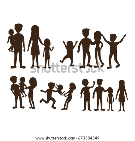 happy family silhouette pack