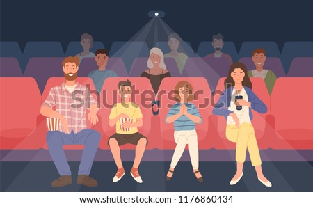 Happy family sitting in movie theater or cinema hall. Mother, father and their children watching film or motion picture together. Front view. Colored vector illustration in flat cartoon style.