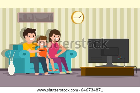 Happy family sitting on a sofa in a living room in front of the television screen and watching TV. Vector