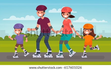 Happy family skating on roller skates in the park. Vector illustration in a flat style