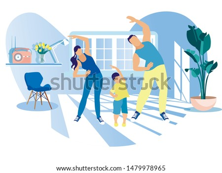 Happy Family Sport Activity. Mother, Father and Kid Doing Morning Exercising at Home. Dad, Mom and Little Son Fitness Workout Exercise, Healthy Lifestyle Indoor Sports Cartoon Flat Vector Illustration