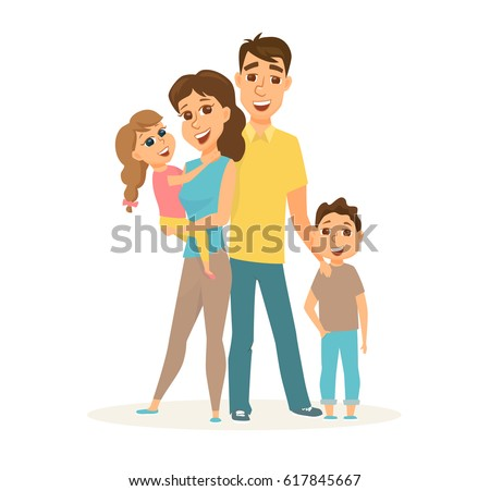 Happy family standing together. Smile father, mother and two children isolated on white background. Hugging mom and daughter, son and dad. Cute cartoon couple with kids