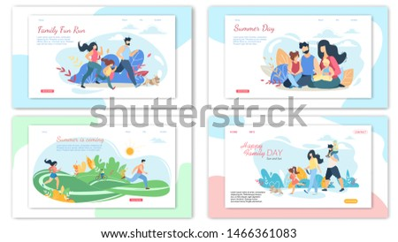 Happy Family Summer Activities Banner Set. Parents and Children Spend Time Together Outdoors at Summertime. Picnic, Walking and Running in City Park, Picnic, Leisure, Cartoon Flat Vector Illustration