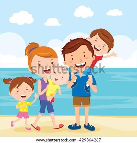 Happy family summer vacation. Family having fun at the beach.