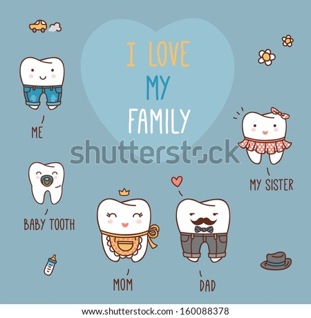 Happy Family Teeth Set. Dental Collection For Your Design. Vector ...