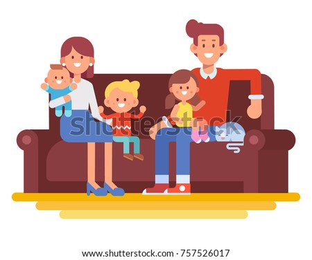 Happy family together. Mom, dad and kids sitting on the couch at home. Cartoon style, Flat Vector illustration isolated on white.