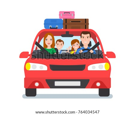 happy family travel by car front view