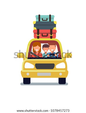 happy family travel by car. Vector flat