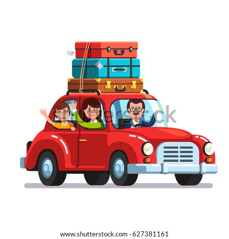 Happy family traveling by car with a luggage bags on the roof. Mother, father and son on vacation road trip together. Retro auto. Flat style vector illustration isolated on white background.