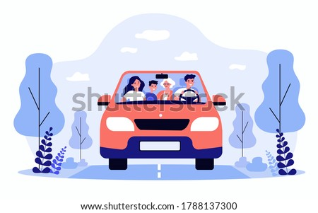 Happy family travelling in car isolated flat vector illustration. Front view of cartoon father, mother, son and grandmother in automobile. Vacation and weekend concept