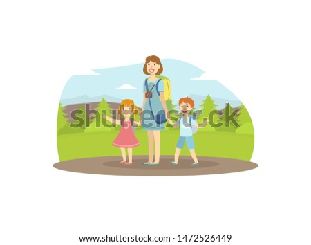 happy family travelling  mother
