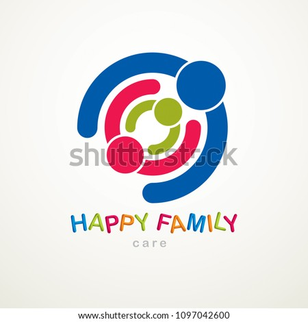 Happy family vector logo or icon created with simple geometric shapes. Tender and protective relationship of father, mother and child. Together as one system relations.