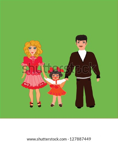 Happy family, vector - mother, father and daughter