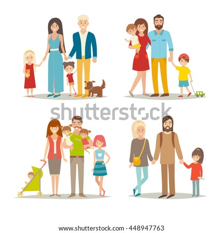 happy family vector set