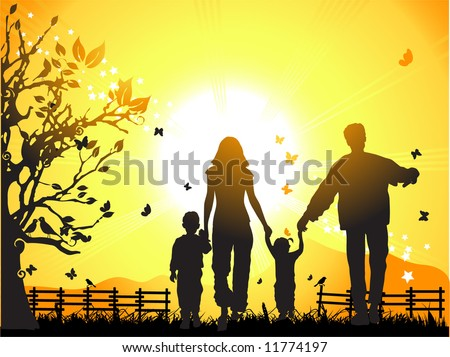 happy family walks on nature