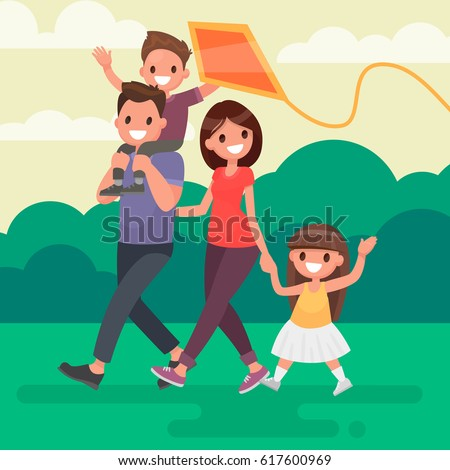 Happy family walks outdoors and launches a kite. Vector illustration in a flat style