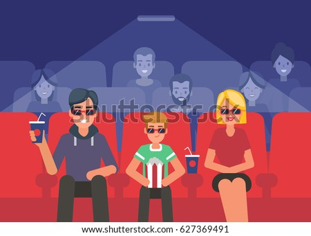 Happy family watching 3d movie in cinema. Flat style vector illustration.