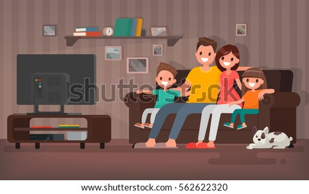 Happy family watching television sitting on the couch at home. Vector illustration in a flat style - Shutterstock ID 562622320